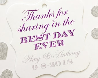 Thank You for sharing in the Best Day Ever Tags, Custom Wedding Tags, Custom Wedding Hang Tags  (FS-055)