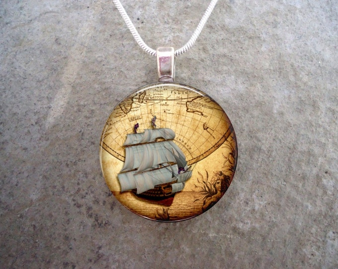 Pirate 9 - Pirate Ship Jewelry - Glass Domed Pendant Necklace