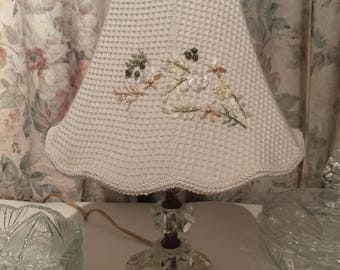 Vintage Crystal Lamp with Embroidered Shade