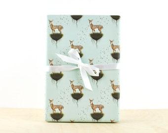 Deer Gift Wrap, Gift Wrap Paper, Designer Wrapping Paper, Holiday Wrapping Paper, Deer Art, Woodland animal