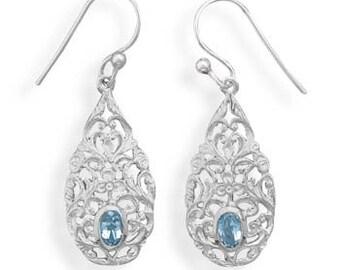 Sterling Silver Pear Shape Blue Topaz Gemstone Drop Earrings