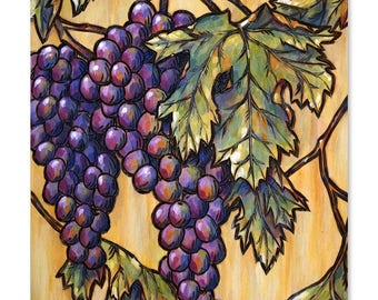 Vineyard Grapes Wood Burning & Painting - Print