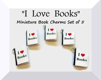 Miniature Book Charms Set of All Five -  I Heart Books Love