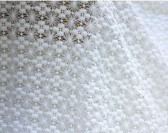 Off white Lace Fabric, Crocheted Floral Lace, Home Decor