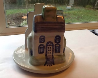 Vintage M A Hadley Louisville Pottery House Napkin or Letter Holder