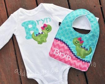Personalized Girl Dinosaur Matching Baby Bodysuit and Bib Set