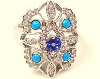 SALE,Solid 14K White Gold Ring,Turquoise,Tanzanite, Diamonds, Exquisite Art Deco Design Ring, Estate Jewellry, Blue Gemstones, Gold Filigree