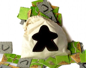 Drawstring Meeple Bag, board game bag, dice bag, tile bag, drawstring bag, small tote, little bag, black meeple, applique