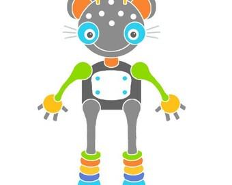 Mouse robot art print robot illustration mouse drawing robot nursery wall art baby room cute art for kids modern nursery decor robot animal