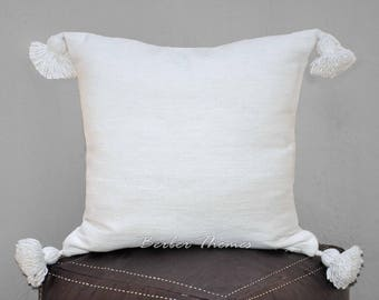 Moroccan Pom Pom Decorative Throw Pillow Cover Cotton, Accent Pillow Couch Sofa, Handwoven on Traditional Looms. #PC001