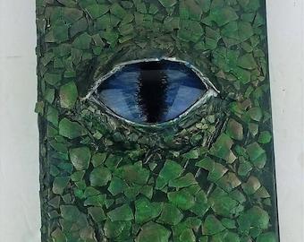 Handmade Dragon's Eye Hidden Compartment Book - Green/Blue/Silver/Bronze