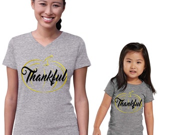Thankful Gold Pumpkin Mommy and Me Heather Shirts Set
