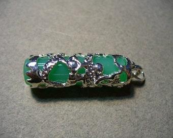 Pendant Silver Plated Brass Opaque Green Column