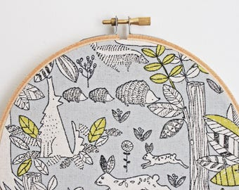 Embroidery Hoop Wall Art // Woodland // Forest // 16cm
