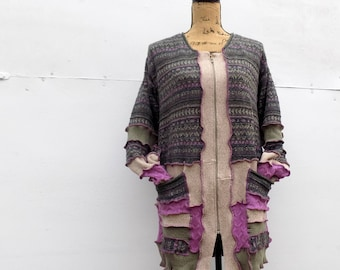 Recycled Sweater Coat - Women's Long Cardigan - Organic Repurposed Clothing - Gypsy Style - Sage Moss Army Mauve Dusty Rose - One of a Kind