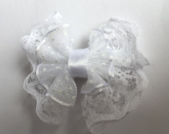 5 piece White lace bow hair Clips
