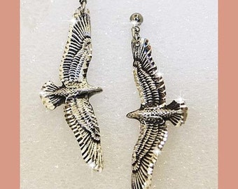 Silver Pewter Diamond Cut Soaring Eagle Earrings Handmade  Jewelry