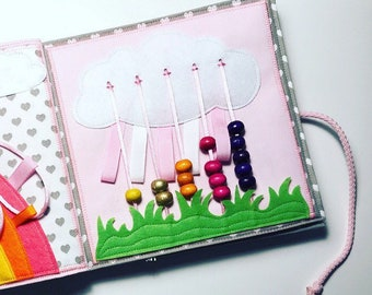 Handmade quiet book PAGE, counting busy book page, abacus activity game, toy for children, kids