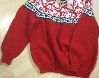Red knitted handmade sweatshirt
