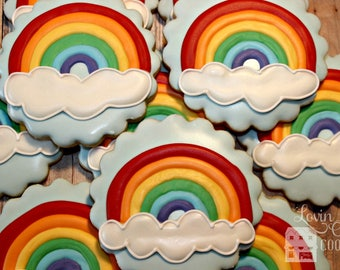 Rainbow Decorated Sugar Cookies -- 1 dozen
