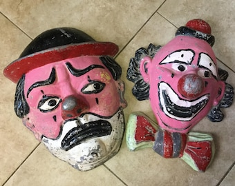 Antique Circus Sideshow Giant Clown Head Signs, From Carnival Ride