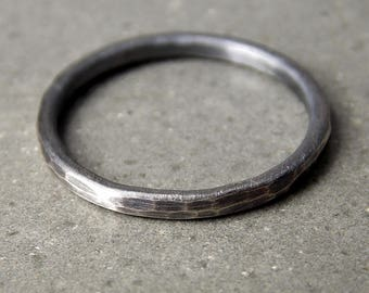 Medium Sterling Silver Ring, Oxidized Satin Finish, Hammered Stacking Ring, Sterling Silver Stacking Ring, Made to Order