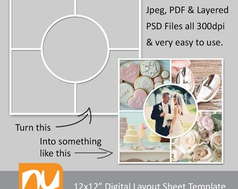 "12x12"" Digital Photo Collage Sheet 300dpi - Ideal for Photographers/Storyboards.  Various formats for easy use."