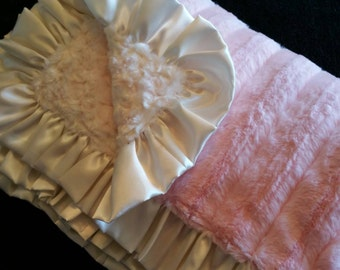 Pink Mink and Ivory Rosebud Minky Blanket with Ivory Satin Ruffle