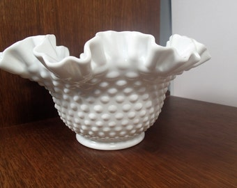 "Vintage Fenton Milk Glass Hobnail bowl Double Crimp Ruffle 8 1/2"" Mid Century 1950's art glass"