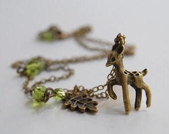 Little Brass Deer Necklace | Cute Fawn Necklace | Woodland Forest Deer Charm Pendant