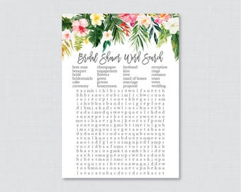 Tropical Bridal Shower Word Search - Printable Hawaiian Floral Bridal Shower Word Search Game, Palm Leaf Bridal Shower Word Search Game 0032