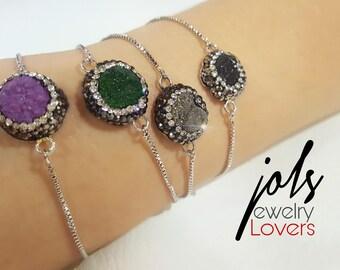 adjustable Bracelet with original Agatha Druzy !