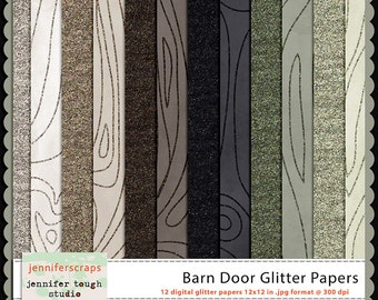 Instant Download - Set of 12 digital papers - Barn Door Glitter Papers