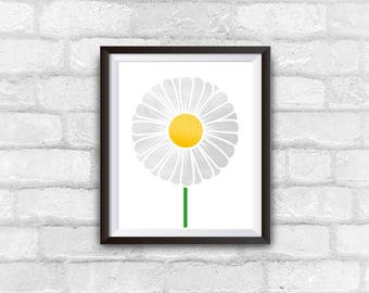 daisy flower print, wall decor, instant download, digital illustration, printable art, flower illustration