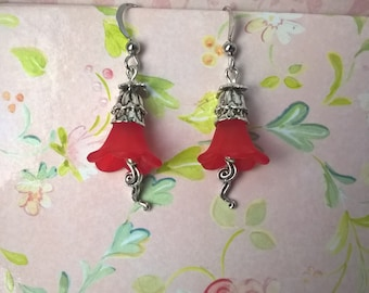 floral earrings, flower earrings, valentines earrings, dangle earrings, bell earrings, drop earrings, red earrings, gift for her