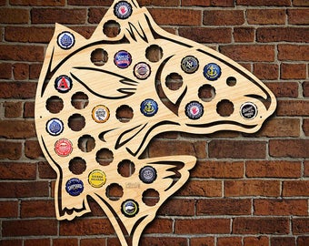 Jumping Fish Beer Bottle Cap Holder - Beer Cap Map Wall Decor - Great Gifts for Men Who Love Fishing