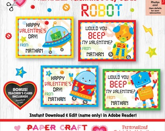 Robot Valentine Cards | Printable Classroom Valentines | Classroom Exchange Cards | By Paper Craft Valentines