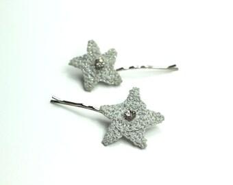 Crocheted Star Rhinestone Hairpin Set