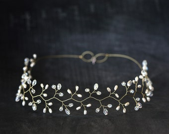 14_ Gold headpiece, Crystal diadem, White Pearl tiara, Wedding diadem, Bridal headpieces, Diadem, Hair accessories, Hair vine, Greece halo.