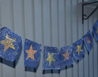 Patriotic Stars Folk  Flag Banner  49 Inches long or 4 Feet 8 Flags Burnt Orange and Yellow Stars Only 14.00