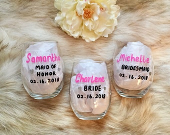 Personalized Bridesmaid Glass, Personalized Maid of Honor Glass, Personalized Bride Glass, Bridesmaid Wine Glasses, Wedding Wine Glasses