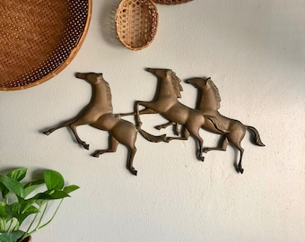 vintage running horse wall hanging 3 horses