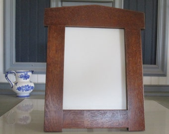 "Arts & Crafts Mission Style 8"" X 10"" Arched Picture Frame White Oak Handcrafted Handmade"