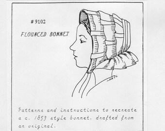 MM9102 - 1853 Flounced Bonnet Sewing Pattern by Miller's Millinery