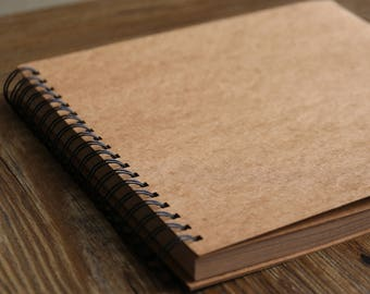 98 Pages  Spiral Bound Blank Kraft Photo Album/Ring Binder Photo album/Scrapbook Album/Wedding Guest Book/Wedding scrapbook Album/