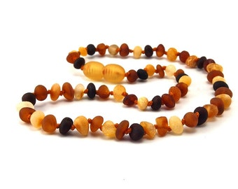 Amber Baltic Necklace Toddler Child Teething Baby Rounded Unpolished Butter Cognac Cherry Beads