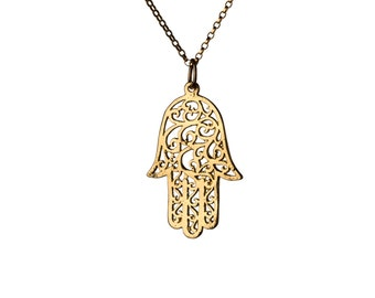Hamsa Filigree Necklace Dainty Gold Filled Necklace Pendant Evil Eye Jewelry Free UK delivery + Gift Box + Gift Bag GP4