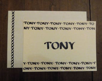 """Card Calligraphed """"Name"""" to customize Style """"Text"""" - choice of colors - 100% handmade"""