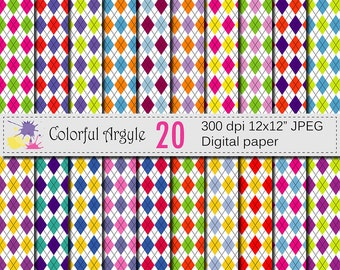 Colorful Argyle Digital Paper Set, Colorful Digital papers, Argyle Digital Papers, Argyle Scrapbook papers, Instant Download