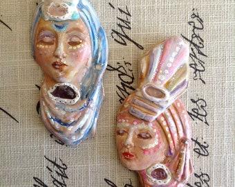 GODDESS AMULET Face, talisman, divine feminine, mother, charm, token, Altar, witch, prayer bead, clay, divination, her, she, custom, zen